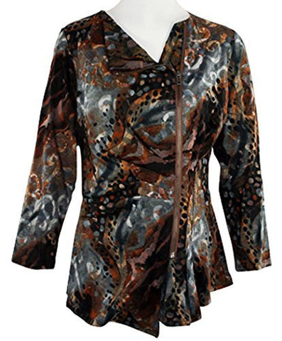 Boho Chic - Crazy Spots, Zippered Front, Shirred Mid-Section Top