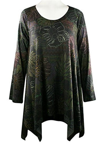 Nally & Millie Floral Leaves, Scoop Neck, Long Sleeve Printed Tunic Knit Top