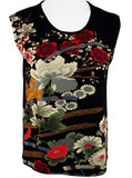 Moonlight Geometric & Floral Print, Scoop Neck, Asian Themed Tank Top - Asian Garden