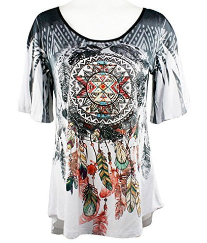 Big Bang Clothing Dreamcatcher, Short Sleeve, Rhinestone Southwest Theme Print