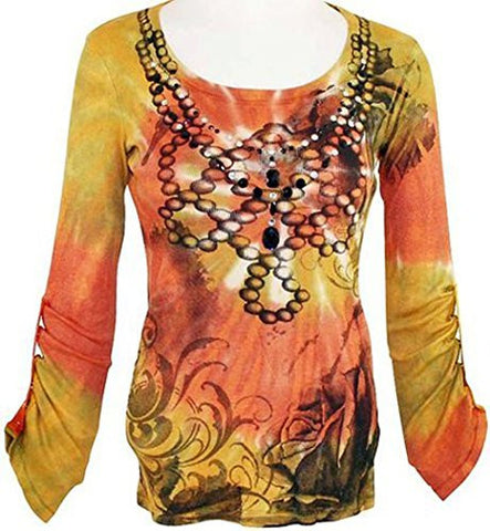 IDI Baby Ribbed, Long Snap Sleeves, Spiral Tie Dye Top - Black Roses