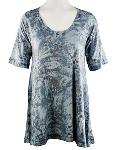 Nally & Millie Blue Abstract, Scoop Neck, Short Sleeve Blue Tunic Top