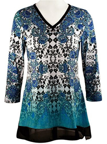 Boho Chic - Vintage Patterns, 3/4 Sleeve Gradient Layered V-Neck Lace Hem Top