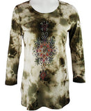Cactus Fashion - Ornamental Tie Dye, Scoop Neck, Cotton Print Rhinestone Top