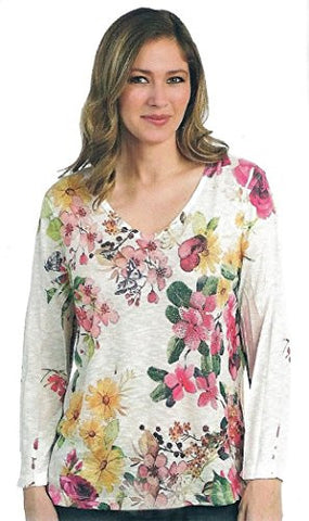 Cactus Fashion - Summertime, 3/4 Sleeve V-Neck, Rhinestone Print Tunic Top