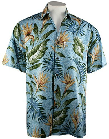 Go Barefoot Bird of Paradise Banded Collar Classic Hawaiian Shirt Side Vents & Coconut Buttons