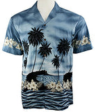 Ky's International Tropical Reefs Fashion Men's Hawaiian Shirt, Glacier Blue