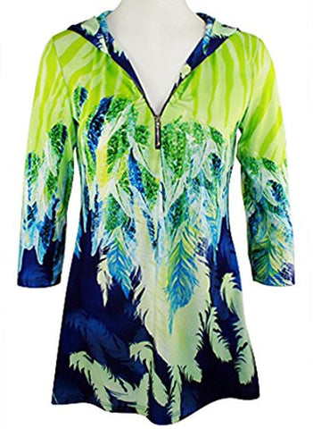Boho Chic - Feathers, Long Sleeve, Partial Zip Front Multi-Colored Hoodie Top
