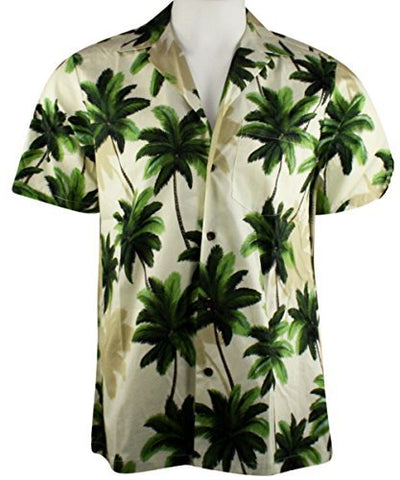 RJC Hawaii Swaying Palms, Single Pocket, Classic Hawaiian Button Front Casual Cotton Shirt