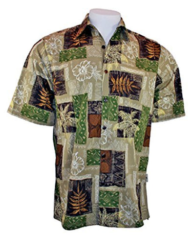 Go Barefoot Palm Blocks Banded Collar Old School Hawaiian Shirt Side Vents & Coconut Button