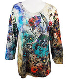 Cactus Fashion - Thursday Morn, Scoop Neck Sublimation Print Rhinestone Top