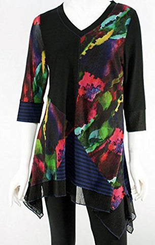 Lior Paris - One-Sided, Patchwork Pattern Tunic, Striped Accents V-Neck Collar