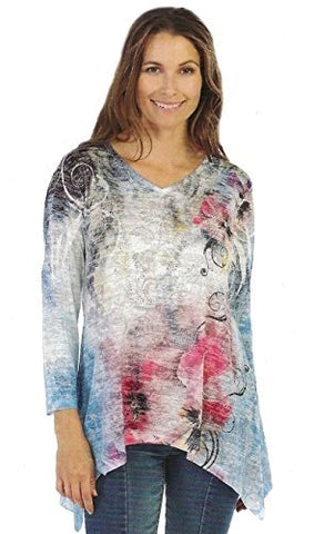 Jess & Jane Colorful, V-Neck Lightweight Sharkbite Sublimation Burnout Tunic Top
