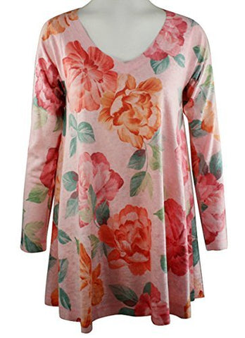 Nally & Millie Pink Floral, V- Neck, Long Sleeve Printed Slouch Tunic Top
