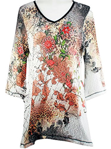 Cactus Fashion - Floriated Scene, 3/4 Sleeve V-Neck, Rhinestone Print Tunic
