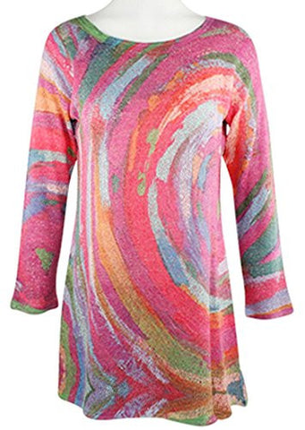 Nally & Millie - Multi Stripe, Scoop Neck, 3/4 Sleeve, Open Knit Tunic Top