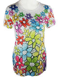 Chi Shee - Hippy Flowers Print Top Sequin Highlights Round Neck Short Sleeve Top