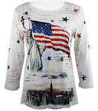 Cactus Fashion - Liberty Flag, 3/4 Sleeve V-Neck Cotton Print Rhinestone Top