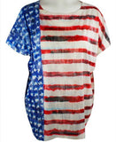 Nally & Millie - USA Flag, Scoop Neck Patriotic Top on a Short Sleeve Body
