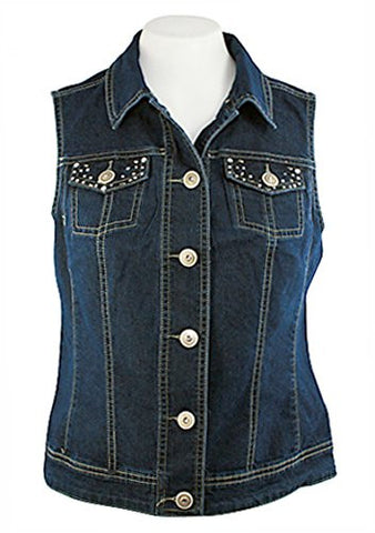 Baccini Button Front Dark Denim Vest, Dual Pockets Accented with Rhinestones
