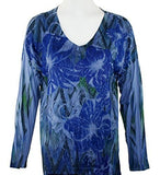California Bloom - Blue Flowers, Floral Print with Burnouts & Lace Accented Front