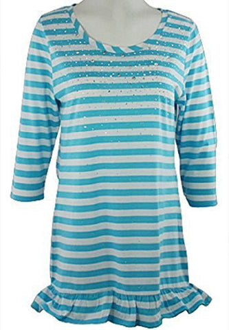 Christine Alexander - Aqua Striped Print, Scoop Neck, Tunic, with Swarovski Crystals