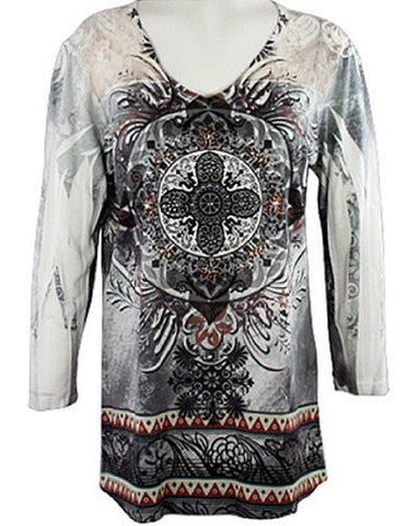 Cactus Fashion - Destiny, Lace Shoulders, Rhinestones, Printed Burnout Top