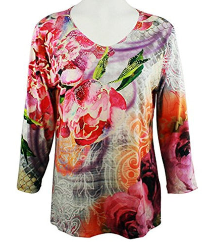 Cactus Fashion - Dusty Rose, Scoop Neck Sublimation Print Rhinestone Top