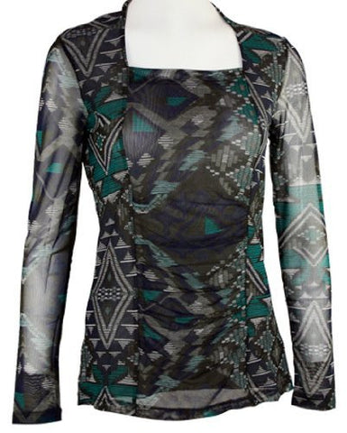 Tribal - Pleated Panel Fashion Top with Long Sheer Sleeves and Square Neck