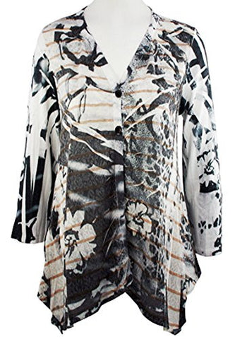 Cubism - Floral Stripes, Two Button Hanky Bottom Burnout Cardigan Top