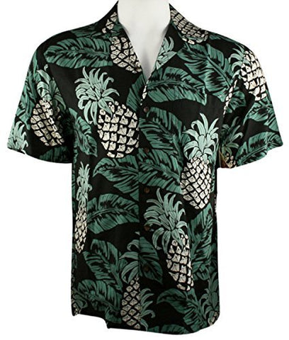 RJC Kalaheo Pineapple Leaves Single Pocket Classic Hawaiian Button Front Casual Tropical Shirt
