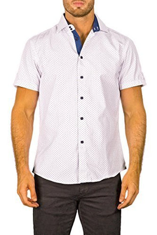 Bespoke White Square Button Front Short Sleeve Contrast Trim Mens Dress Shirt