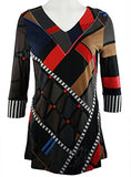 Lior Paris - Unpredictable Stripes, Geometric Pattern Tunic with V-Neck Collar