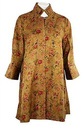 Earthen Silk - Olive Mud Silk, Natural Dyed Floral Print, Asian Themed Top