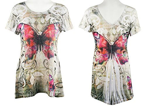 Big Bang Clothing Pink Butterfly Cap Sleeve Scoop Neck Rhinestone Accent Print