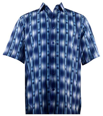 Bassiri - Blue Lines, Button Front Short Sleeve Square Hem Casual Blue Men's Shirt
