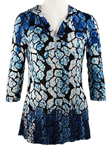 Boho Chic - Blue & White Spots, Partial Zip Front Long Sleeve Fashion Hoodie Top