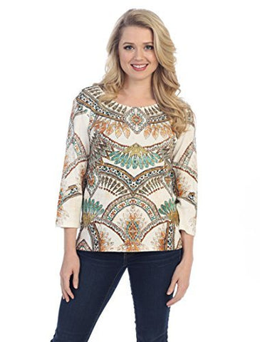 Katina Marie SW Pattern, 3/4 Sleeve Rhinestone Accents Scoop Neck Cotton Top