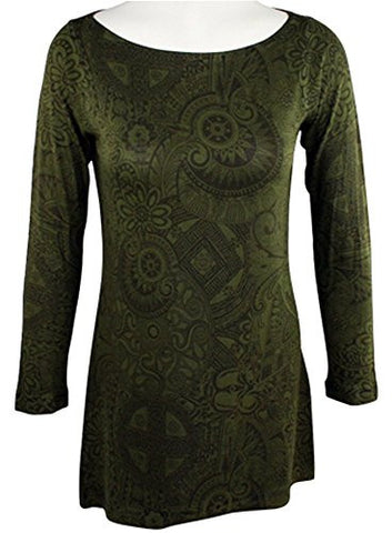 Nally & Millie- Altered View, Round Neck Tunic Top on a Long Sleeve Body