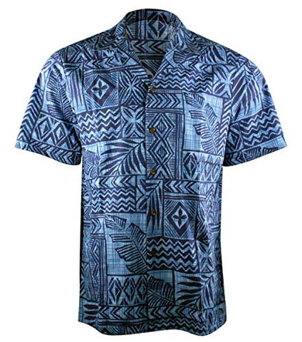 RJC Hawaii Tropical Mosaic Single Pocket Button Front Traditional Men's Hawaiian Shirt
