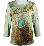 Cactus Fashion - Spring Garden, 3/4 Sleeve, Printed Cotton Rhinestone Top