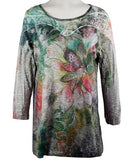 Cactus Fashion - Shaded Floral, Rhinestone Accents, Sublimation Tunic