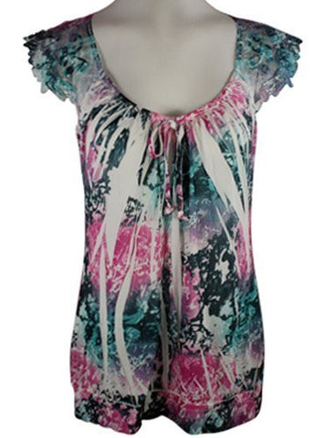Select Clothing Cap Sleeve, Sublimation Burnout Print- Tie Top with Lace Back Banding