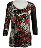 Lynn Ritchie - Sheer Top, Black & Red in a Geometric Print