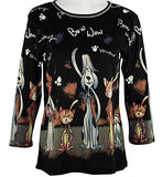 Cactus Fashion - Puppy & Kitty, 3/4 Sleeve, Scoop Neck, Cotton Print Rhinestone Top