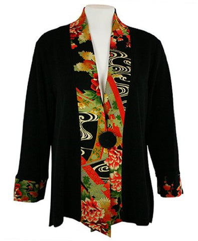 Moonlight - Asian Flower, Floral Print Accent Collar & Sleeve Asian Themed Top