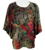 Cubism - Red Flower, Bat Wing Sleeve, Waist Banded Floral Print