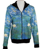 Breeke & Company Water Lilies Hand Silk-Screened, Womens Hooded Top