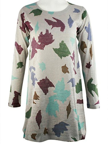 Nally & Millie - Colored Leaves, Scoop Neck, Long Sleeve Hand Painted Knit Tunic