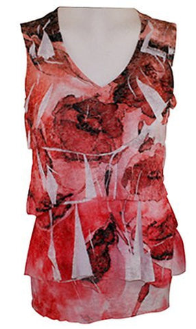 Boho Chic - Roses Burnout Print, Sleeveless, Horizontal Ruffled Front, Fashion Top